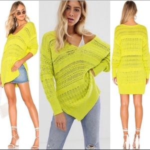 FREE PEOPLE HOT 🥵 TROPICS OPEN KNIT SWEATER LIME